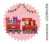 kid riding train cartoon | Shutterstock .eps vector #1225841356