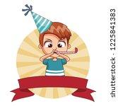 boy on birthday cartoon | Shutterstock .eps vector #1225841383