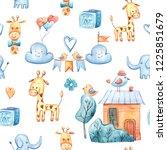 watercolor cute kids seamless...   Shutterstock . vector #1225851679