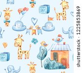 watercolor cute kids seamless...   Shutterstock . vector #1225853869