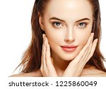 beautiful woman face with...   Shutterstock . vector #1225860049