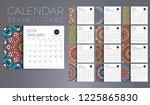 calendar 2019 with mandalas | Shutterstock .eps vector #1225865830