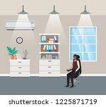 corridor office with black...   Shutterstock .eps vector #1225871719