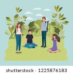 young people on the park... | Shutterstock .eps vector #1225876183