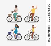 group of people on bicycle | Shutterstock .eps vector #1225876690