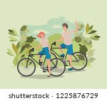 young couple on bicycle in the... | Shutterstock .eps vector #1225876729
