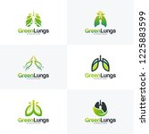 Set Of Green Lung Care Logo...
