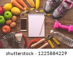 fitness concept with exercise... | Shutterstock . vector #1225884229