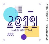 2019 new year. simple banner... | Shutterstock .eps vector #1225887019