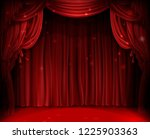 red stage curtain realistic... | Shutterstock .eps vector #1225903363