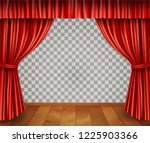 red stage curtain realistic... | Shutterstock .eps vector #1225903366
