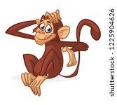 cute cartoon monkey sitting....   Shutterstock .eps vector #1225904626
