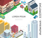 isometric cityscape colorful... | Shutterstock .eps vector #1225907143