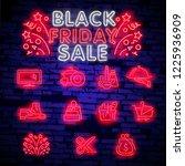 big set neon billboard  theme... | Shutterstock .eps vector #1225936909