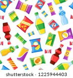 snacks and drinks seamless... | Shutterstock .eps vector #1225944403