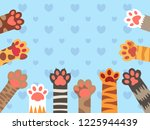 Stock vector cat paws cute kitten paw cats claws and funny domestic pets foot kittens different up feet pet 1225944439