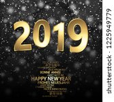 happy new year 2019 greetings... | Shutterstock .eps vector #1225949779