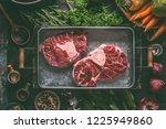 raw beef meat shin with bone... | Shutterstock . vector #1225949860