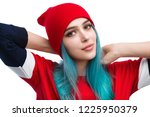 young modern woman with dyed... | Shutterstock . vector #1225950379