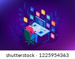 isometric developing... | Shutterstock .eps vector #1225954363
