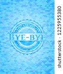 bye bye sky blue emblem with... | Shutterstock .eps vector #1225955380