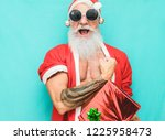 tattoo fit santa clause with... | Shutterstock . vector #1225958473