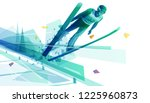 jump skier on his flight over... | Shutterstock .eps vector #1225960873