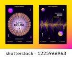 techno music poster. wave flyer ... | Shutterstock .eps vector #1225966963