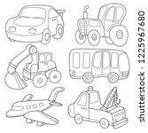 cartoon transport. coloring... | Shutterstock .eps vector #1225967680