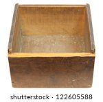 Old empty wooden box - isolated on white with clipping path - stock photo