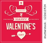 happy valentines day cards with ... | Shutterstock .eps vector #122611924