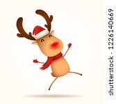the red nosed reindeer jumps.... | Shutterstock .eps vector #1226140669