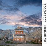 Small photo of Ancient Bon stupa in Saldang village, Nepal. Saldang lies in Nankhang Valley, the most populous of the sparsely populated valleys making up the culturally Tibetan region of Dolpo.