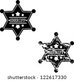 Black sheriff badges on white background