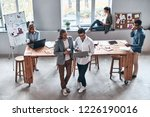 concentrated at work. top view...   Shutterstock . vector #1226190016