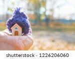 house with knitted hat in hand. ... | Shutterstock . vector #1226206060