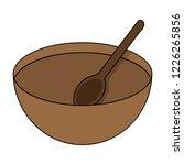 cartoon wooden bowl with spoon... | Shutterstock .eps vector #1226265856