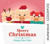 piggy three with big signboard  ...   Shutterstock .eps vector #1226269153