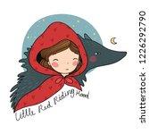 a cute cartoon  girl and a wolf.... | Shutterstock .eps vector #1226292790
