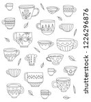 cute cups coloring page. vector ... | Shutterstock .eps vector #1226296876