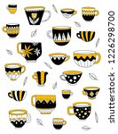 vector cute cups. black and... | Shutterstock .eps vector #1226298700