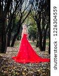 woman in red dress in fall... | Shutterstock . vector #1226304559