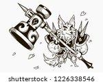 wolf and big hammer. vector... | Shutterstock .eps vector #1226338546