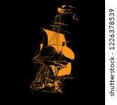 sailing ship vintage frigate on ... | Shutterstock .eps vector #1226378539