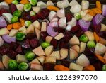 autumn vegetables sliced and...