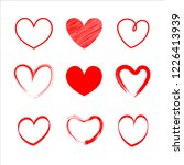 set vector red heart  hand the... | Shutterstock .eps vector #1226413939