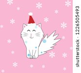 christmas cat vector. | Shutterstock .eps vector #1226505493