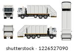 realistic white garbage truck... | Shutterstock .eps vector #1226527090