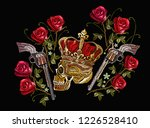 embroidery skull in crown ... | Shutterstock .eps vector #1226528410