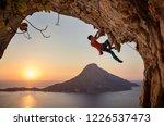 male rock climber on...   Shutterstock . vector #1226537473